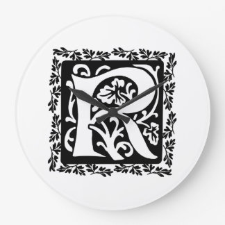 Medieval Letter R Monogram Black and White Large Clock
