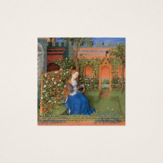 Medieval maiden in the castle rose garden square business card