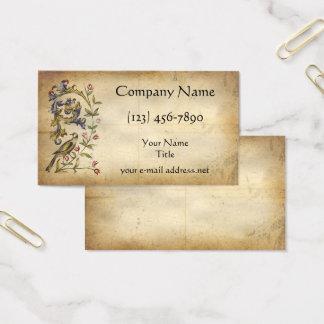 Medieval Manuscript Floral Bird Business Card