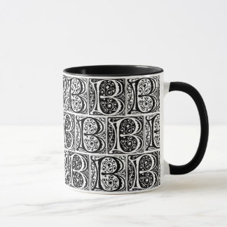 Medieval Manuscript Illuminated Letter B Monogram Mug