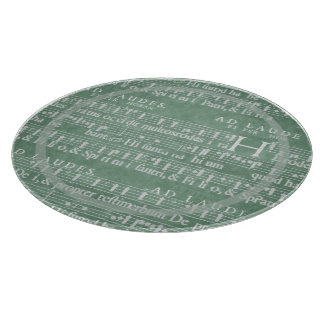 Medieval Manuscript Teal Green Cutting Board