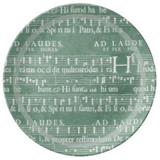 Medieval Manuscript Teal Green Porcelain Plate