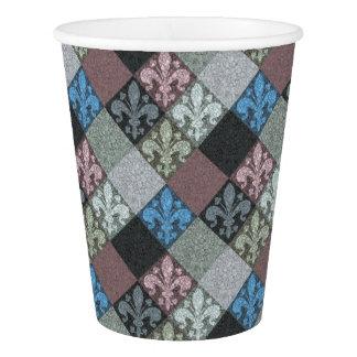 Medieval Marble Fleur de Lys Pattern Paper Cup