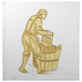 Medieval Miller With Bucket Drawing Napkin