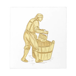 Medieval Miller With Bucket Drawing Notepad