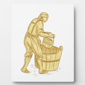 Medieval Miller With Bucket Drawing Plaque