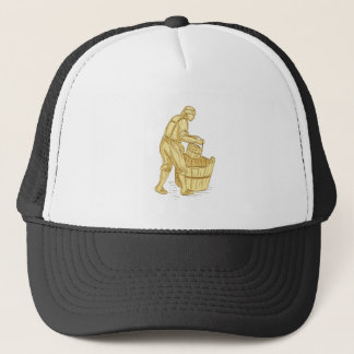 Medieval Miller With Bucket Drawing Trucker Hat