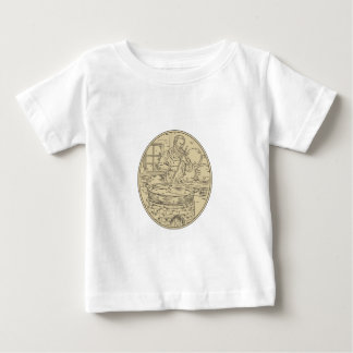Medieval Monk Brewing Beer Oval Drawing Baby T-Shirt