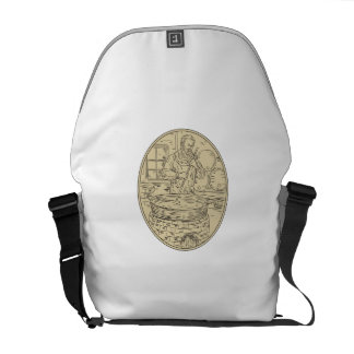 Medieval Monk Brewing Beer Oval Drawing Commuter Bag