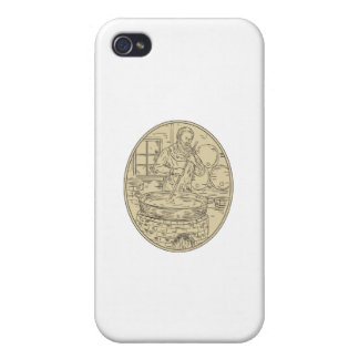 Medieval Monk Brewing Beer Oval Drawing iPhone 4/4S Case