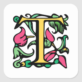 Medieval Monogram Initial T Square Sticker