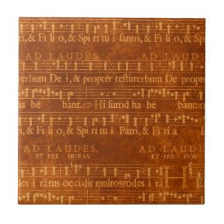 Medieval Music Manuscript, Rust Color Ceramic Tile
