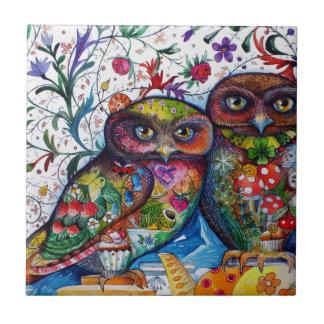 Medieval owls 1 ceramic tile