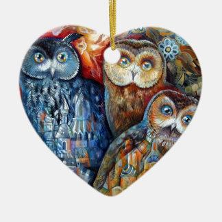 Medieval owls ceramic heart decoration