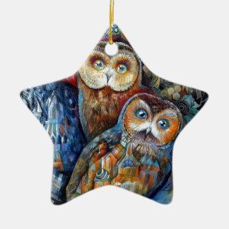 Medieval owls ceramic star decoration