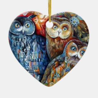 Medieval owls ceramic heart decoration