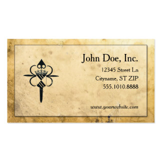 Medieval parchment with crest business cards business card template