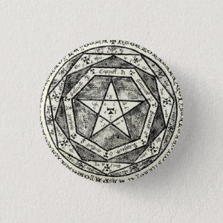 Medieval pentagram 3 cm round badge