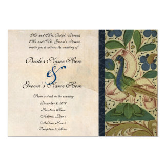 "Medieval Pheasant Parchment Wedding Invitation 5"" X 7"" Invitation Card"