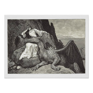 Medieval Queen and Her Pet Dragon Poster