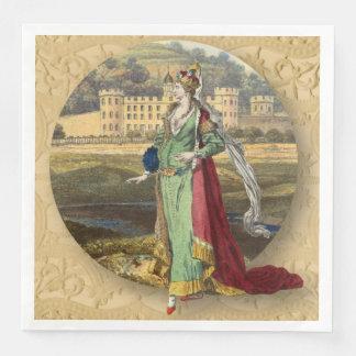 Medieval Queen With Castle Disposable Serviette