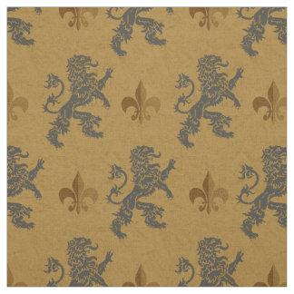 Medieval Rampant Lions  Fleur de Lis Fabric