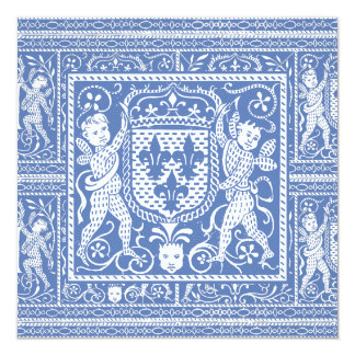 Medieval Renaissance Elegant Blue and White 13 Cm X 13 Cm Square Invitation Card