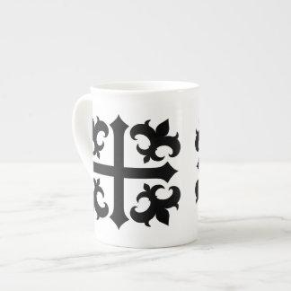Medieval royal symbolic cross and fleur de lis bone china mug