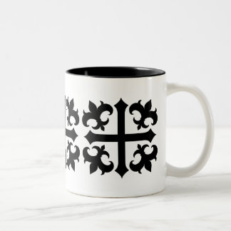 Medieval royal symbolic cross and fleur de lis Two-Tone mug