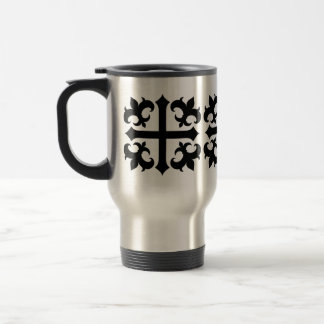 Medieval royal symbolic cross and fleur de lis stainless steel travel mug