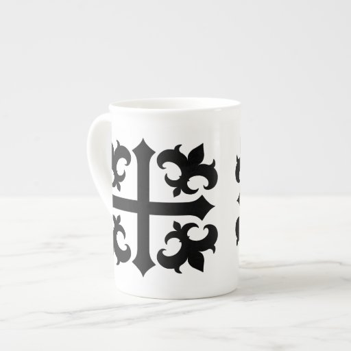 Medieval royal symbolic cross and fleur de lis porcelain mug