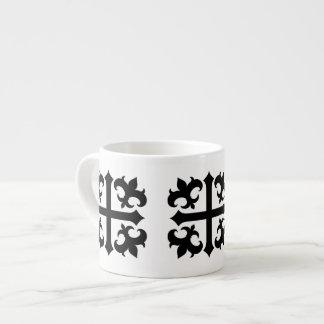 Medieval royal symbolic cross and fleur de lis espresso mugs