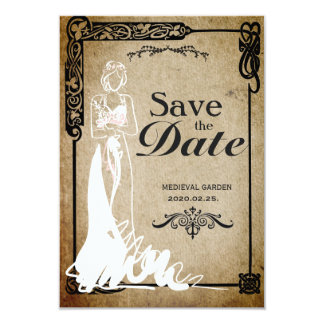 Medieval Save the Date bride Card