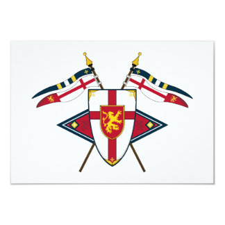 Medieval Shield and Flags RSVP Card 9 Cm X 13 Cm Invitation Card