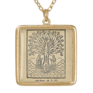 Medieval Tree of the Sciences Square Pendant Necklace