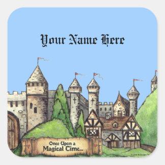 Medieval Village Design Square Sticker