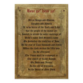 "Medieval wedding  Invitation decree template 5"" X 7"" Invitation Card"