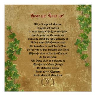 Medieval wedding Invitation Parchment-look