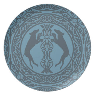 MEDIEVAL WEIM BLUE MELAMINE PLATE