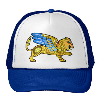 Medieval Winged Lion Gryphon Mesh Hat
