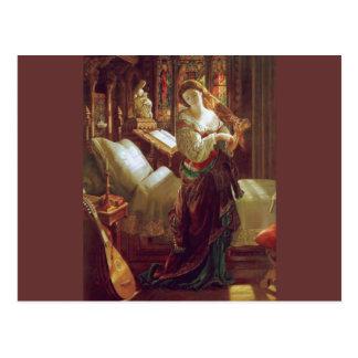 Medieval woman bedroom postcard