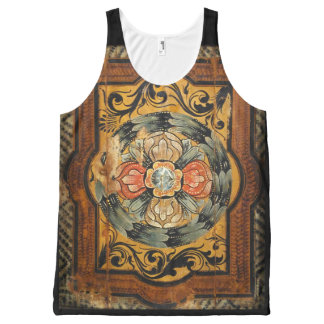 medieval wood painting art vintage old Gothic hist All-Over Print Singlet