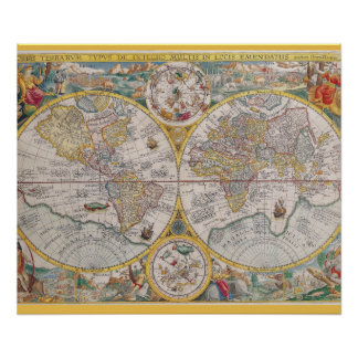 Medieval World Map From 1525 Poster