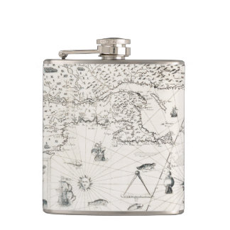 Medieval World map Quebec Nouvelle-France America Hip Flask
