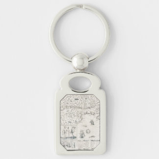 Medieval World map Quebec Nouvelle-France America Key Ring