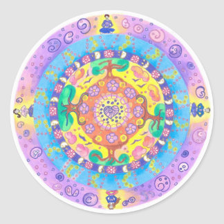 Medilludesign - Mandala Meditation Classic Round Sticker