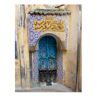 medina fes door postcard
