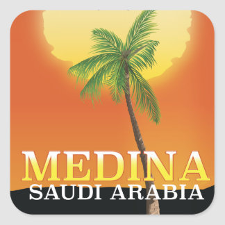 Medina Saudi Arabia Travel poster Square Sticker