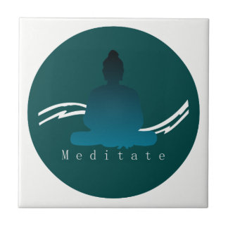 """Meditate"" Beautiful Buddha. Ceramic Tile"