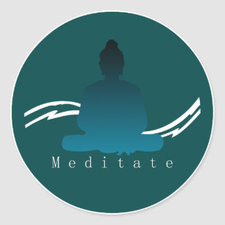 """""""Meditate"""" Beautiful Buddha. Classic Round Sticker"""